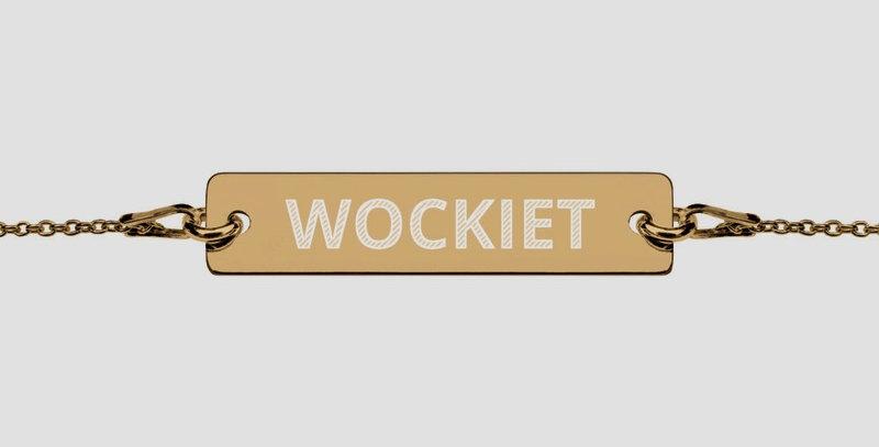 WOCKIET Engraved Silver Bar Chain Bracelet