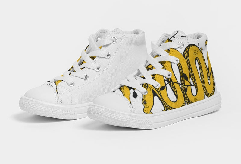 WOCKIET Kids White/Yellow/Black Two Headed Kids Hightop Sneakers