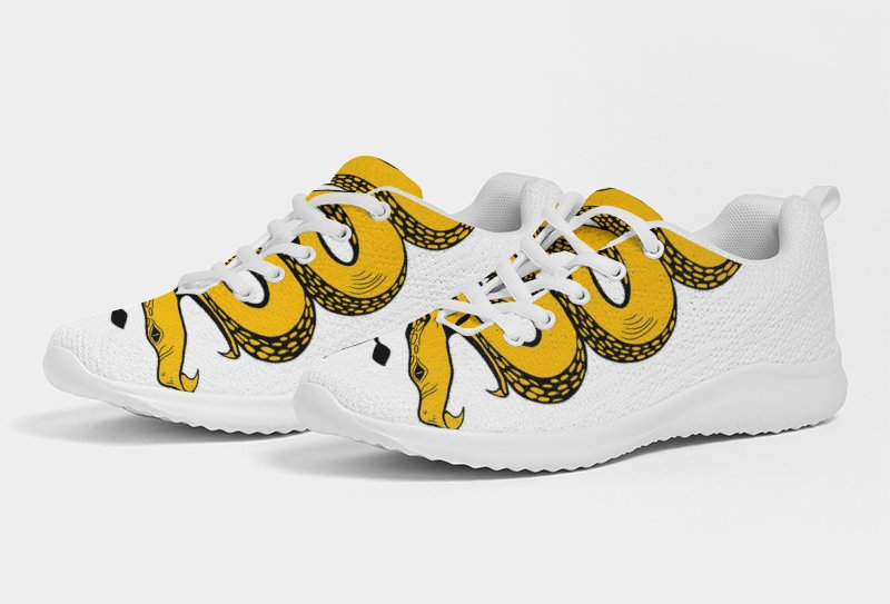 WOCKIET Mens White/Yellow/Black Two Headed Sneakers