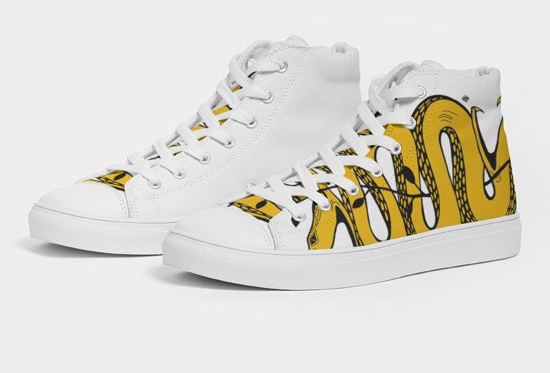 WOCKIET Mens White/Yellow/Black Two HeadedMen's Hightop Sneakers
