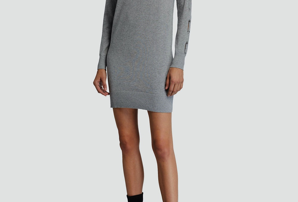 MICHAEL Michael Kors Turtleneck Long-Sleeve Mini Dress w/ Sleeve Tie