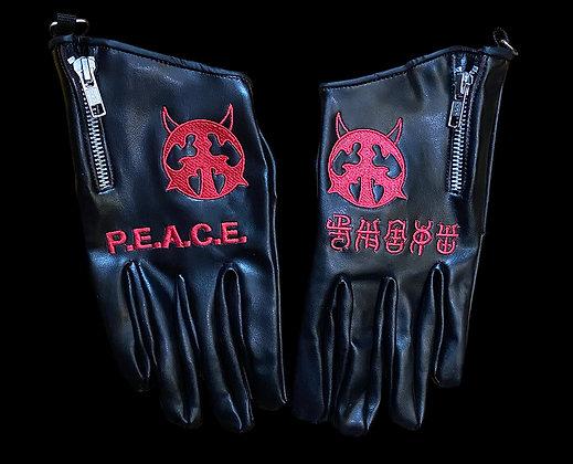 P.E.A.C.E. Zippered Faux Leather Gloves