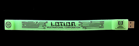 L.O.T.I.O.N. Multinational Corporation Glow In The Dark Discography USB Bracelet