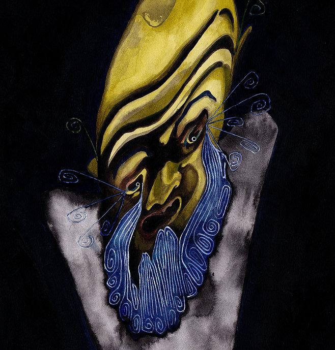 traanbaard - illustratie voor 'ik wil mijn monsters terug' van Simon Douw en Hildert Raaijmakers  - acryl op papier - 2019 - 29 x 42 cm