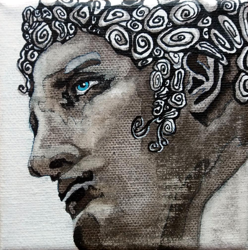 Jules - acryl op doek - 10 x 10 cm