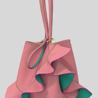 Ruffle  Single Hand Drawstring Bag