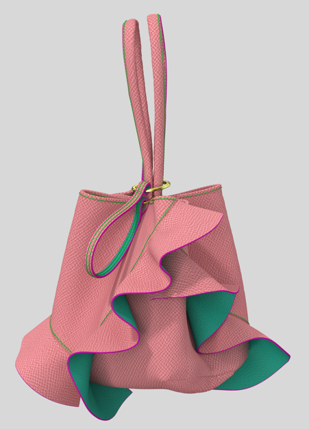 Ruffle  Single Hand Drawstring Bag
