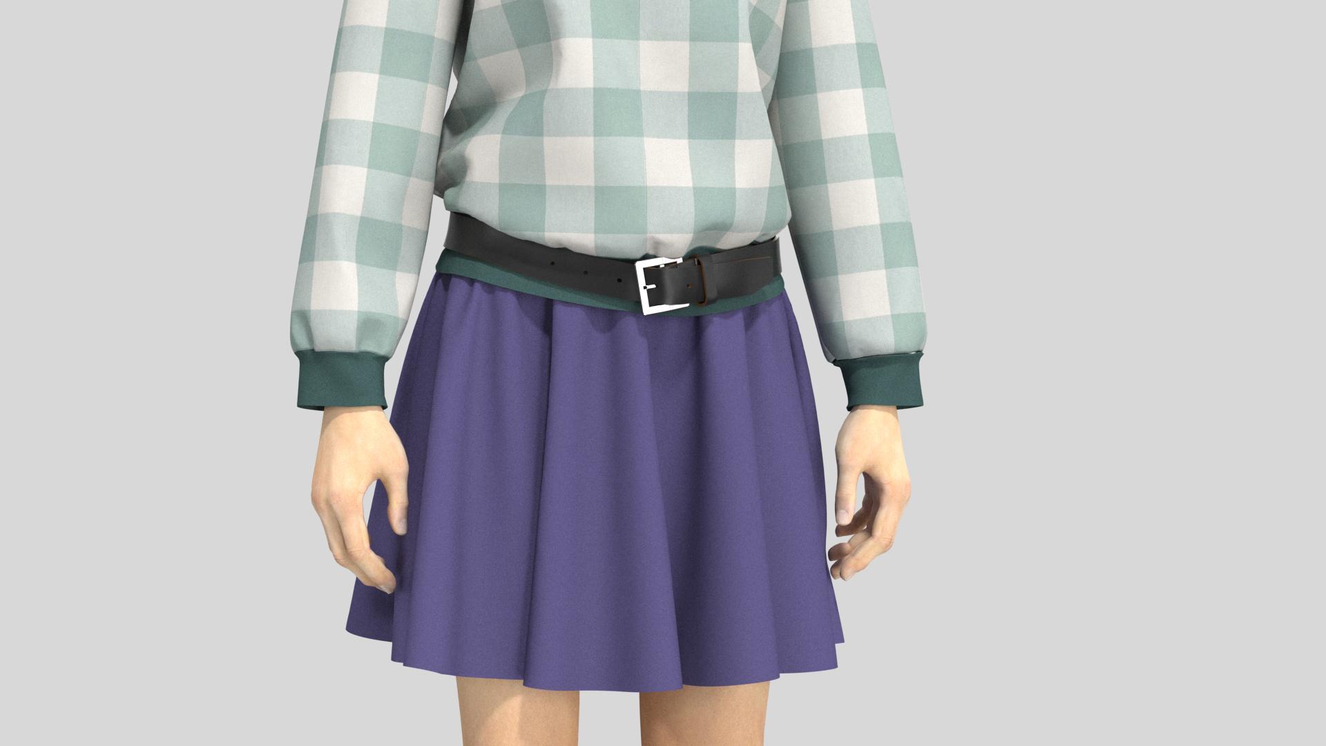 Copy of buckle belt on avatar short skir