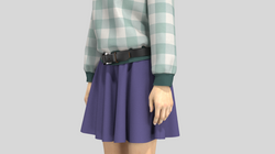 buckle belt on avatar short skirt_Colorw