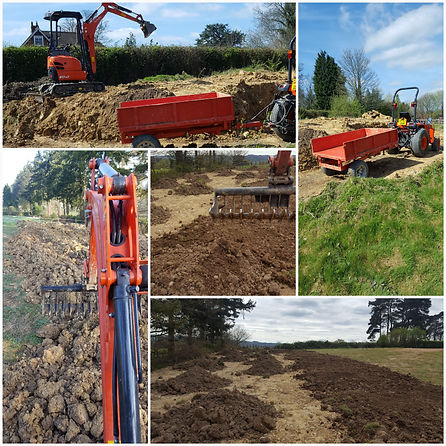 Compact digger, levelling soil, grading soil, compact tractor and trailer.