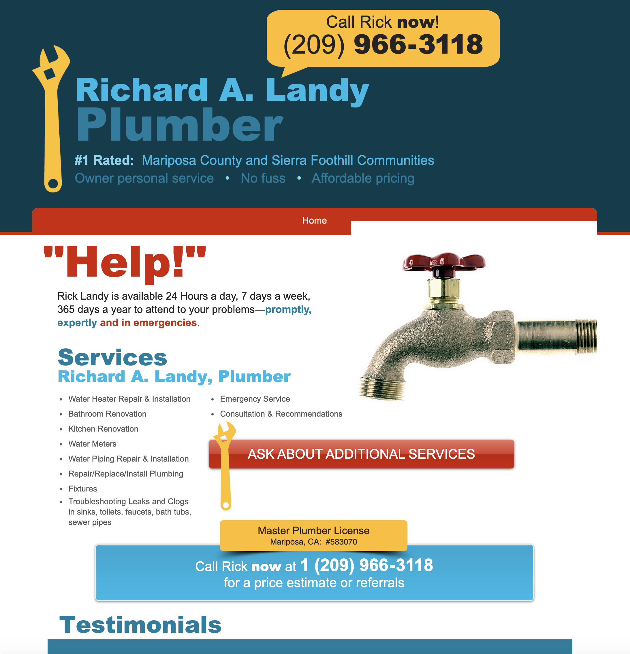Richard A. Landy, Plumber