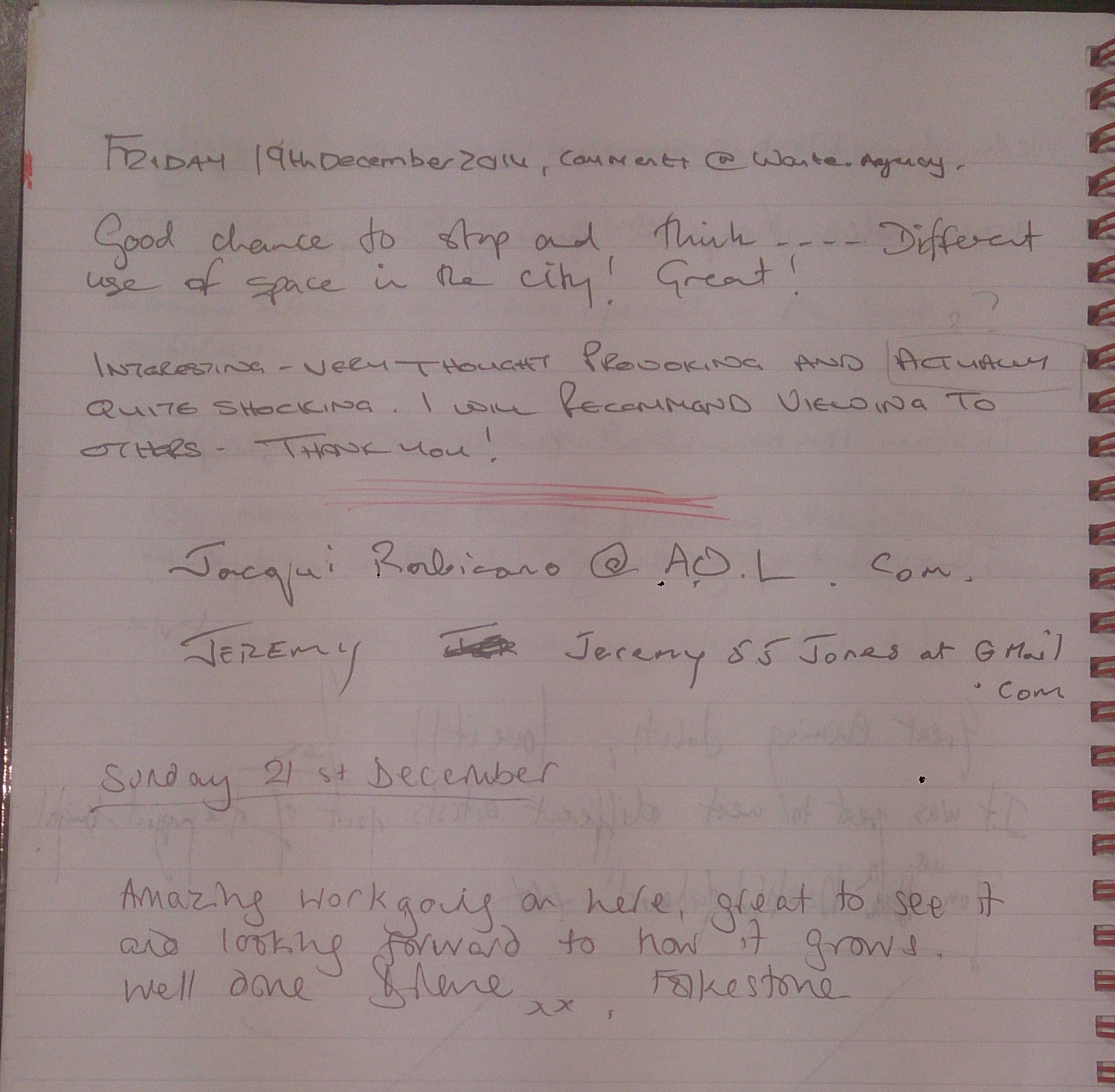 Comments Book Page 28
