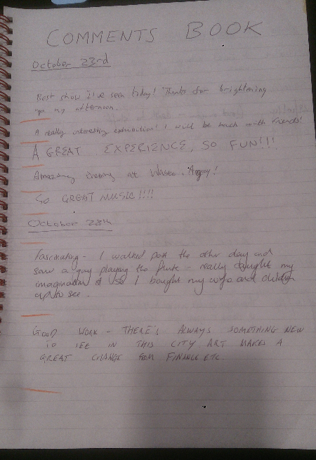 Comments Book Page 1a