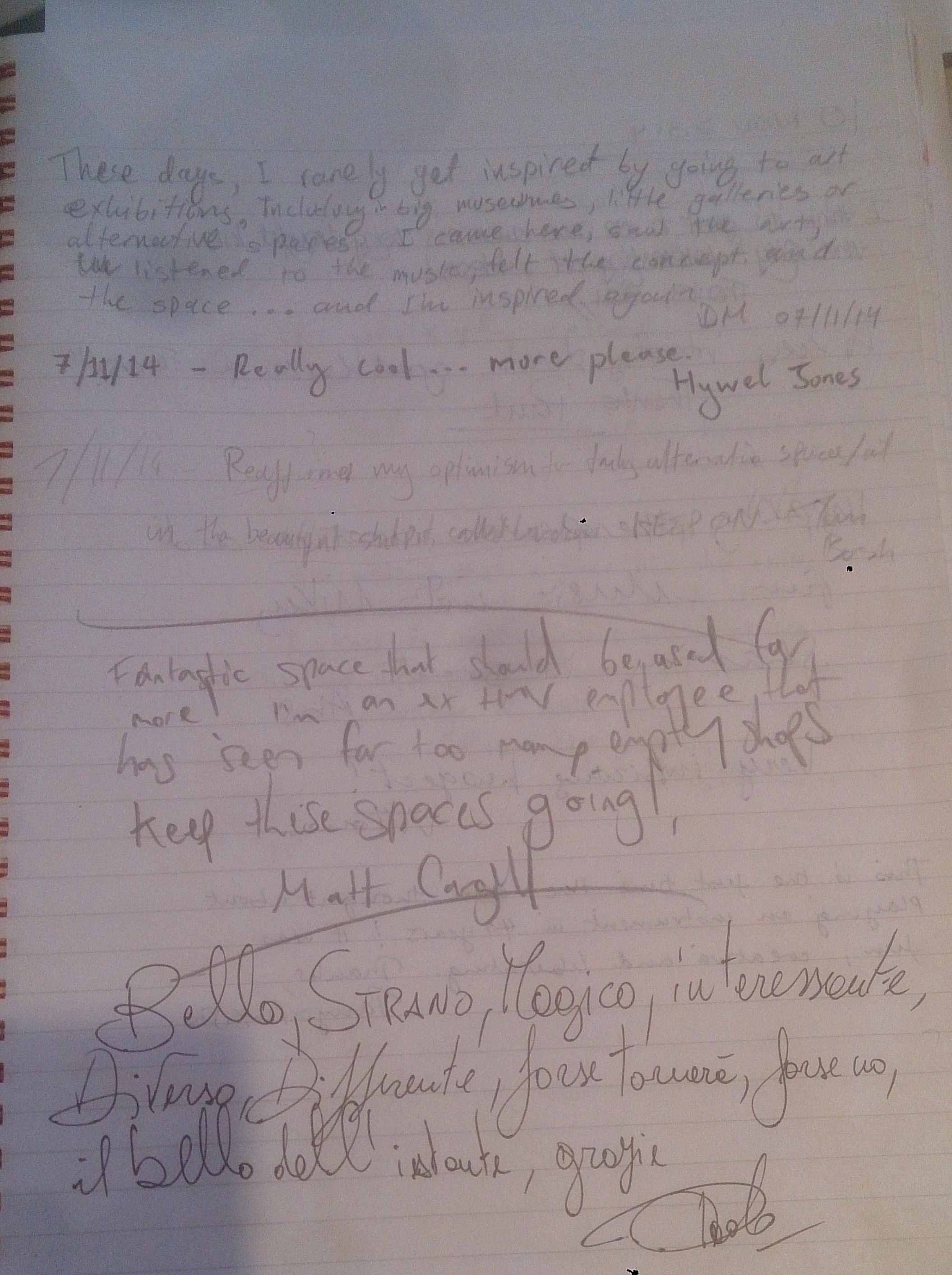 Comments Book Page 7a