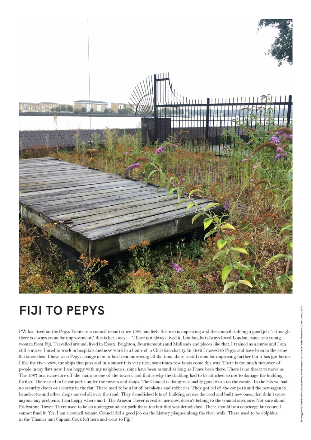 """PW has lived on the Pepys Estate as a council tenant since 1982 and feels the area is improving and the council is doing a good job, """"although there is always room for improvement,"""" this is her story..."""