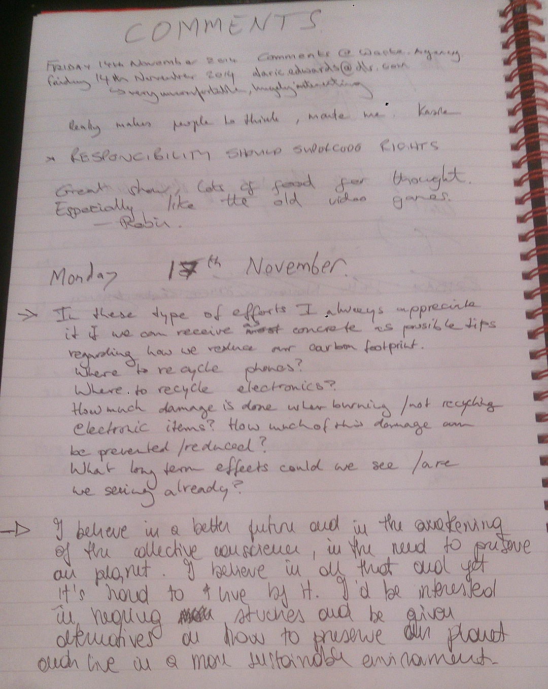 Comments Book Page 12a