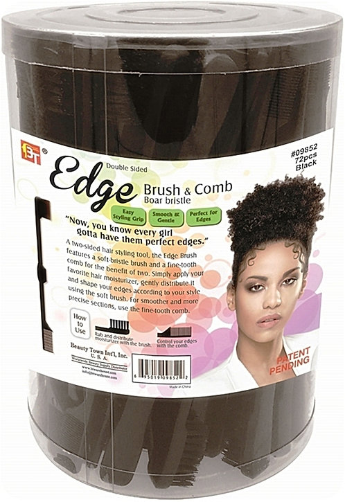 BT EDGE BRUSH & COMB - BOAR BRISTLE- BLACK