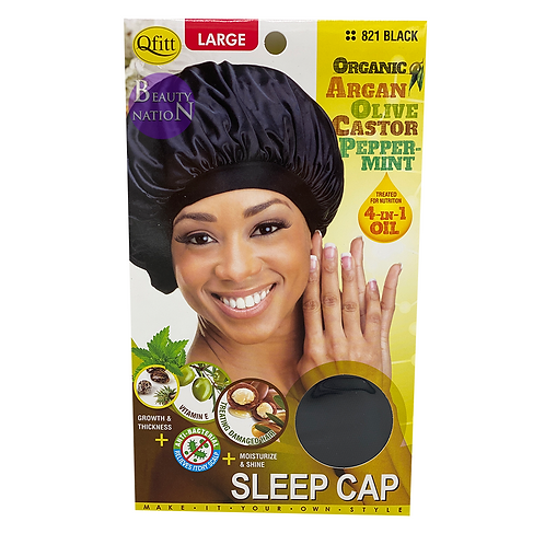 Qfitt 4 in 1 Oil Infused Sleep Cap #821 (L) Black