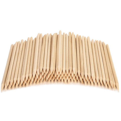 Orange Wood Sticks Cuticle Pushers Pointed & Beveled Ends 100pcs