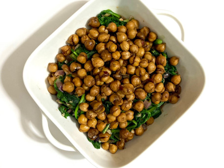Balsamic Chickpeas with Red Mustard
