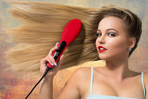 ALL NEW V.2 TNS Professional hair straightening Brush Red