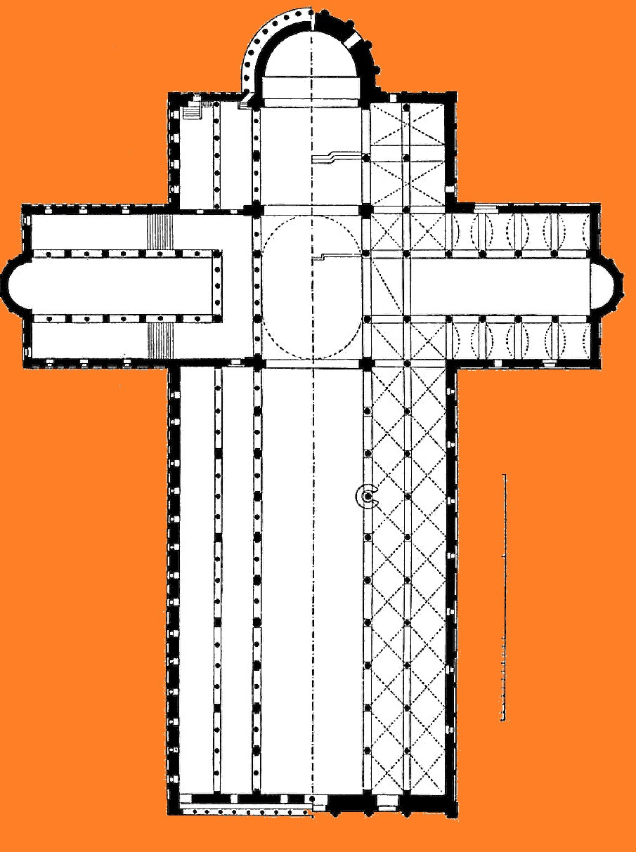 Building plan with a cross layout