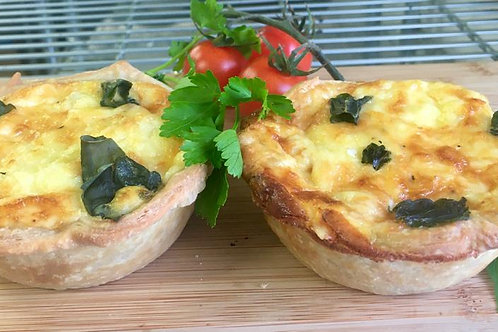 Roasted cherry tomato, red onion & fresh basil individual quiches x 2