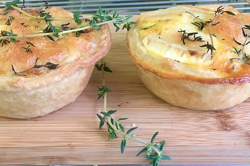Roasted vegetable, goats cheese & fresh thyme individual quiches x 2