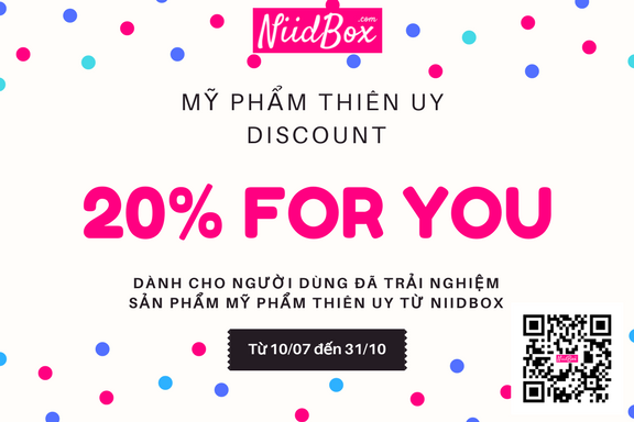 Giảm 20% tổng giá trị hóa đơn khi khách hàng đặt hàng online tại website www.myphamthienuy.com. Điều kiện: - Là người dùng nhận sản phẩm của Thiên Uy từ NiidBox - Scan mã QR hoặc click vào link bên dưới để nhận voucher. Thời gian: đến hết ngày 31/10/2017