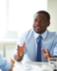 Gerente em reunião de negócios