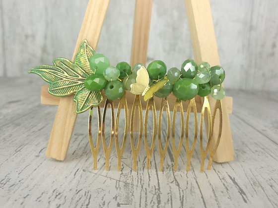 Peineta verdes y dorados mariposa