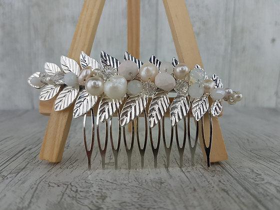 Peineta rama metal perla