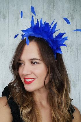 Diadema pomo plumas azul klein
