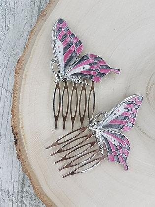 Mariposas gris y rosa