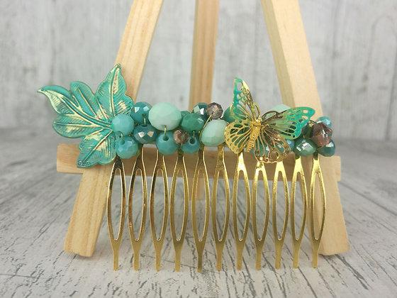 Peineta turquesa dorado mariposa