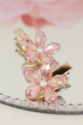 Pareja pincitas doradas con flor de cristal rosa palo