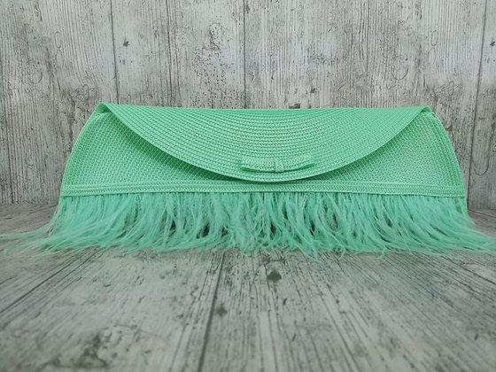 Bolso Lau verde agua plumas