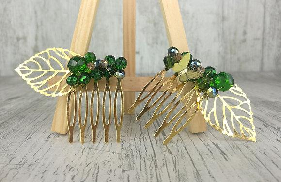 Peinetas gemelas verde oscuro dorados