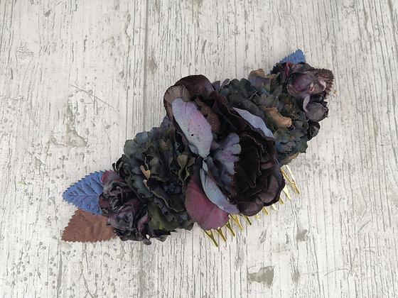 Peineta flores ciruela y azules vintage