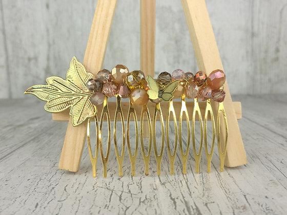 Peineta ocres y dorados mariposa