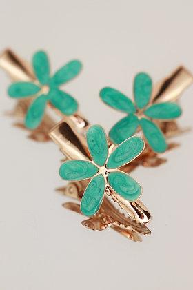 Trío pincitas flor verde agua