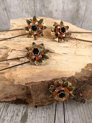 Cuarteto de horquillas flor naranja