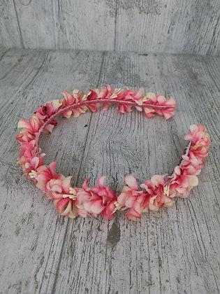 Diadema de flores finita coral