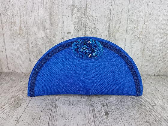 Bolso abanico flores azul klein