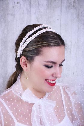 Diadema doble de pistilos blancos y rosas