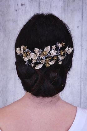 Peineta flores doradas y plata vieja