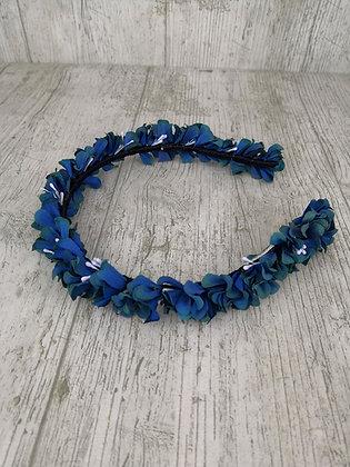 Diadema flores finita azul vivo