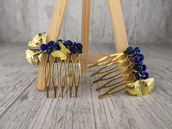 Dos peinetas gemelas azul klein y dorados