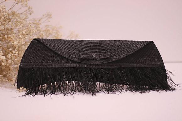 Bolso Lau negro con plumas