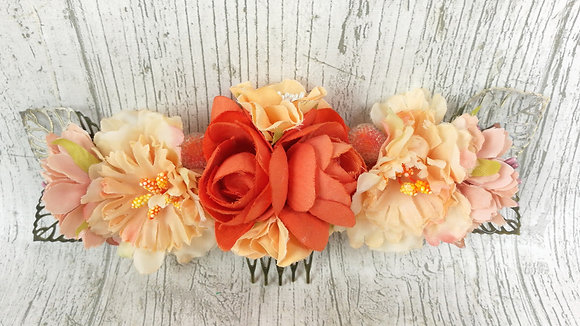 Peineta flores naranja